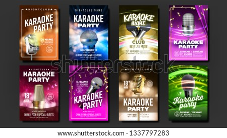 Karaoke Poster Template Blank Set Vector. Mic Design. Disco Banner. Voice Equipment. Sing Song. Luxu Stock photo © pikepicture