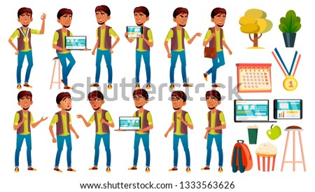 Arab, Muslim Boy Schoolboy Kid Poses Set Vector. High School Child. Teaching, Educate, Athlete, Foot Stock photo © pikepicture