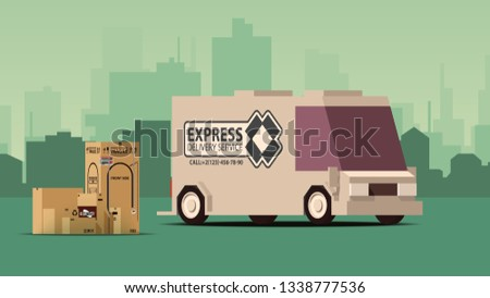 Stockfoto: Grijs · vrachtwagen · stad · landschap · komische · cartoon
