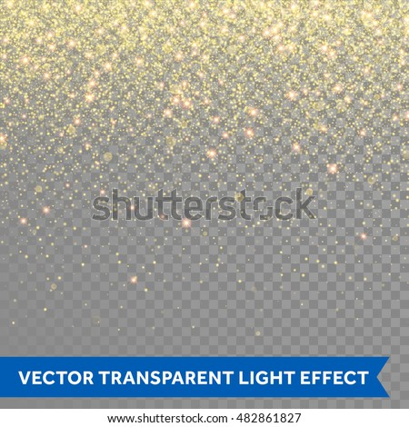 Golden glitter sparkle on a transparent background. Gold Vibrant background with twinkle lights. Vec Stock photo © olehsvetiukha