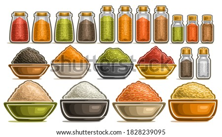 assorted indian various food with spices rice and fresh vegetables stock photo © dash