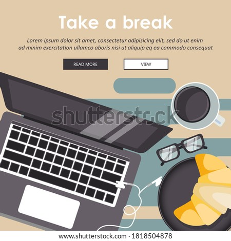 Take a break from work. Cup of coffee with lap top. Coffee time, coffee break concept. Flat vector i Stock photo © makyzz