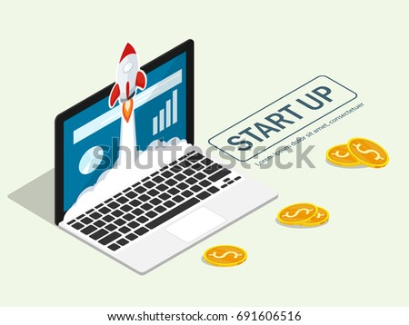 Rakietowe pływające laptop początku w górę projektu Zdjęcia stock © makyzz