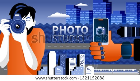 Happy photographer is taking a photo using slr camera. Flat vector illustration of young male charac Stock photo © makyzz