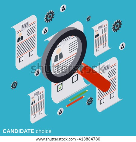 Icon of magnifying glass and resume for professional staff recruitment Stock photo © ussr