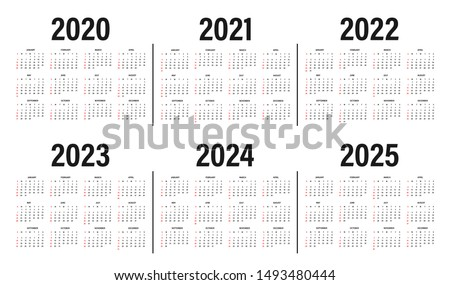Mockup Simple calendar Layout for 2020, 2021 and 2022 years. Week starts from Sunday Stock photo © olehsvetiukha