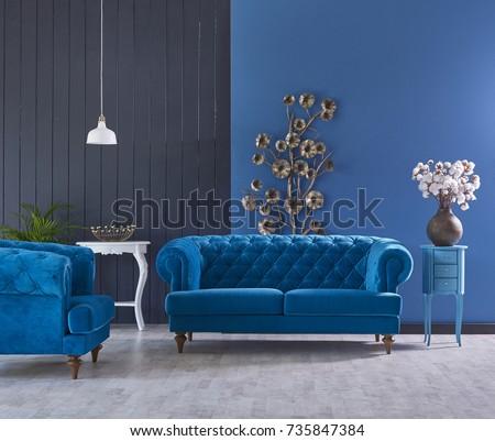 retro · woonkamer · retro-stijl · oude · interieur · sofa - stockfoto © frimufilms