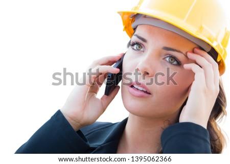 vrouwelijke · jonge · bezorgd · bouw · architect · telefoon - stockfoto © feverpitch