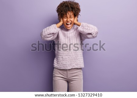 Sad Black Girl Young African American Woman Under Panic Attack Stock photo © diego_cervo