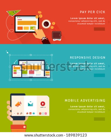 Mobile marketing and pay per click web banner. E-commerce, shopping and delivery concepts. Flat desi Stock photo © makyzz