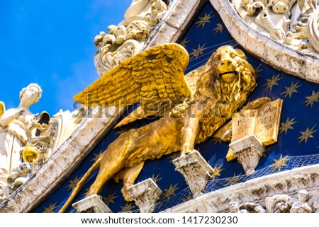 Lion of St Mark, symbol of imperial Venice on the Basilica San M Stock photo © boggy