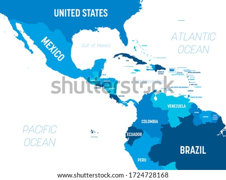 World Map of CENTRAL AMERICA & CARIBBEAN REGION: Mexico, Caribbean Islands, Caribbean basin. Chart. Stock photo © Glasaigh