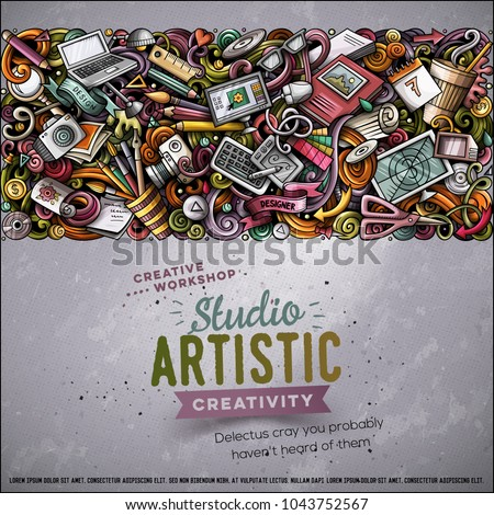 cartoon vector doodles design card graphics with lots of objects illustration stock photo © balabolka