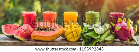rainbow from smoothies watermelon papaya mango spinach and dragon fruit smoothies juices beve stock photo © galitskaya
