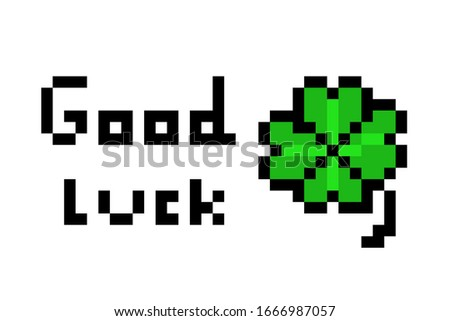 Green four-leaf clover with sparkles, luck symbol, slot icon for online casino or logo for mobile ga Stock photo © MarySan