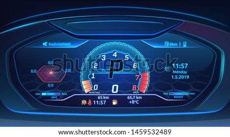 Neon sport car supercar dashboard with speedometer, modern automobile control panel design, vector i Stock photo © MarySan