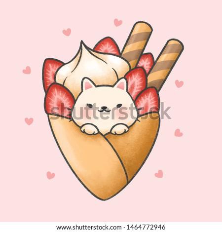cute cat with creamy strawberry crape cartoon hand drawn style stock photo © amaomam