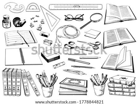Nyitva notebook toll olló szemüveg fejhallgató Stock fotó © pressmaster