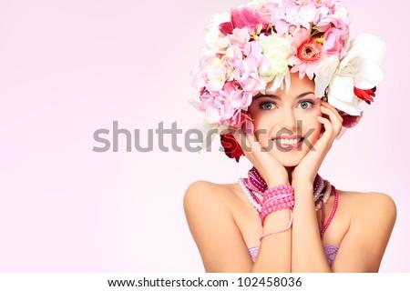Gorgeous young model, beautiful woman eye with fresh pink  flowe Stock photo © serdechny