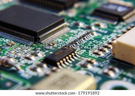 Impresso verde computador placa de circuito muitos elétrico Foto stock © lightpoet
