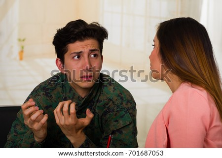 female doctor discussing with army soldier suffering from ptsd stock photo © andreypopov