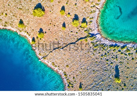 Kornati national park island separated by stone drywall aerial v Stock photo © xbrchx
