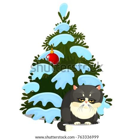 Triste culpado gato cinzento quebrado brinquedo árvore de natal Foto stock © Lady-Luck