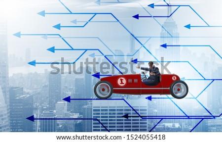 businessman driving sports car choosing different career paths stock photo © elnur