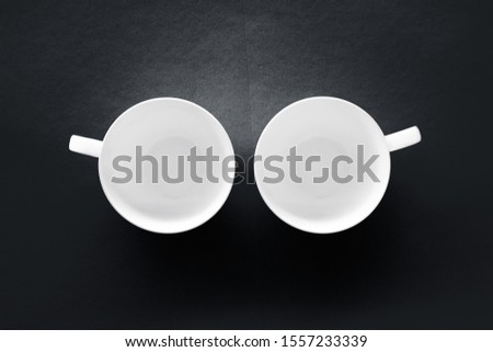 White tableware crockery set, empty cup on black flatlay backgro Stock photo © Anneleven