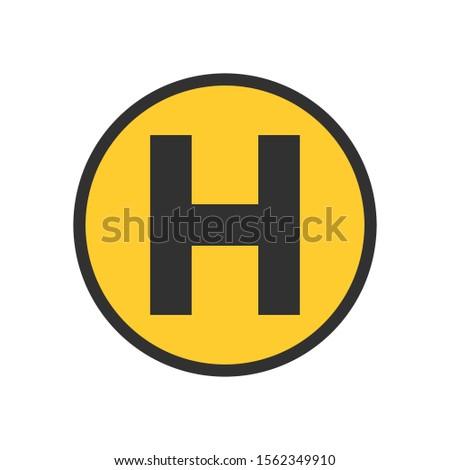 ヘリコプター 駐車場 スポット 黄色 サークル ストックフォト © kyryloff