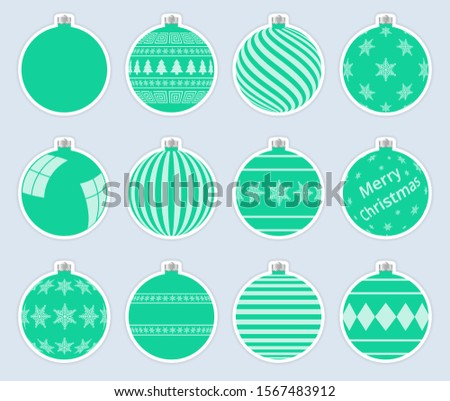 Magic, colorful christmas balls stickers isolated on gray background. High quality vector set of chr Stock photo © ukasz_hampel