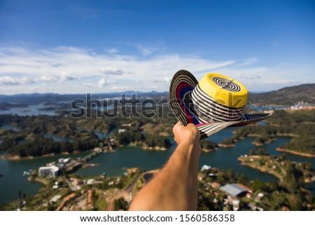 Kéz kalap tó Colombia kilátás víz Stock fotó © boggy