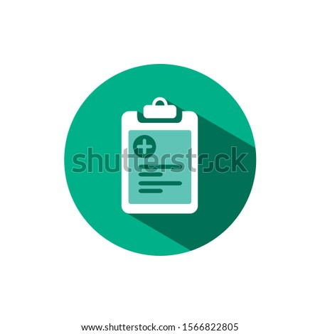 Pharmacy inventory list icon with shadow on a green circle. Vector pharmacy illustration Stock photo © Imaagio