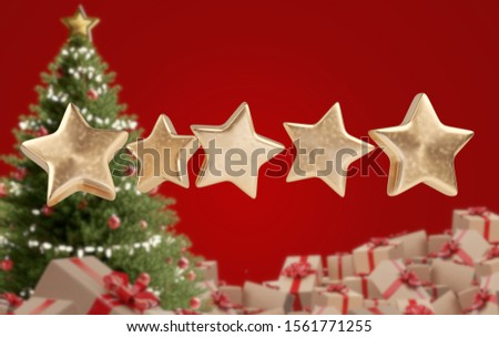 Star Rating zero up to five pile of Christmas gifts 3d-illustrat Stock photo © Wetzkaz