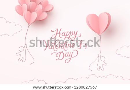 Feliz día de san valentín vuelo rosa blanco Foto stock © olehsvetiukha