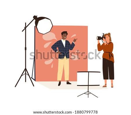 Photographer taking photo with softbox. Vector cartoon man taking picture and holding lightbox. Stock photo © vasilixa