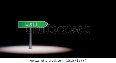 Exit Directional Arrow Road Sign Spotlighted on Black Background Stock photo © make