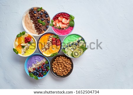 Healthy superfood composition. Various kinds granola energy prot Stock photo © dash