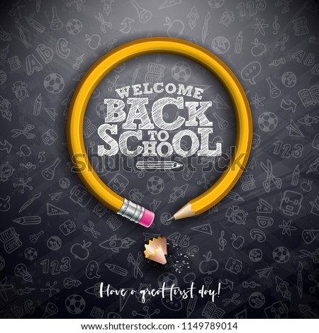 Back To School Design With Graphite Pencil And Typography Letter On Square Grid Booklet Background Stok fotoğraf © articular