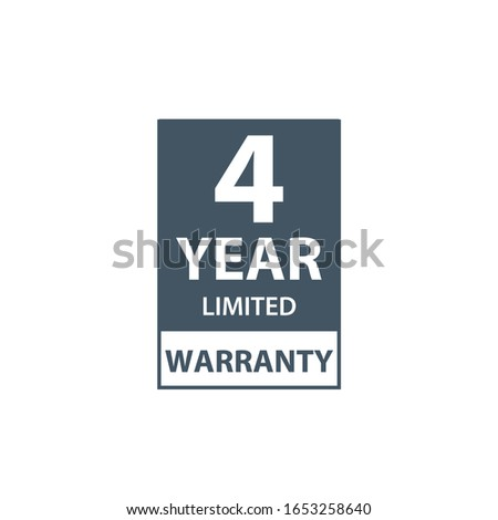 4 years limited warranty icon or label, certificate for customers, warranty stamp or sticker. vector Stock photo © kyryloff