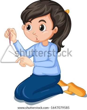 Lány kék póló játszik háromszög illusztráció Stock fotó © bluering