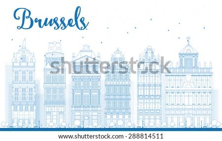 Brüsszel sziluett díszes épületek hely tükröződések Stock fotó © ShustrikS