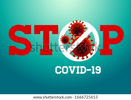 Covid-19. Coronavirus Outbreak Design with Virus Cell in Microscopic View on Blue Background. Vector Stock photo © articular