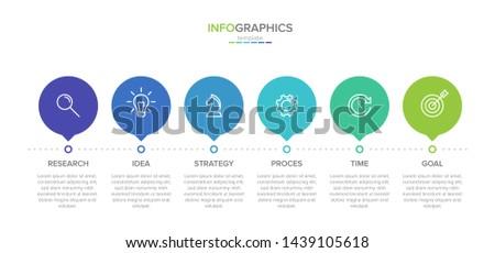 Timeline infographic design vector. 6 options, rectangular workflow layout. Vector infographic timel Stock photo © ukasz_hampel