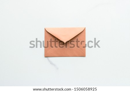 Blank paper envelopes on marble flatlay background, holiday mail Stock photo © Anneleven