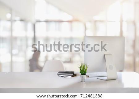 Stylish home studio workspace with computer, supplies and coffee Stock photo © karandaev