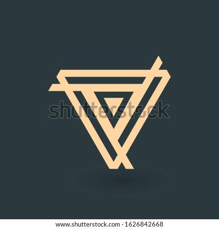 Creative gold trinity futuristic Triple triangle symbol design for company logo. Corporate tech geom Stock photo © kyryloff