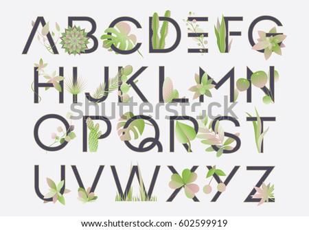 письма иллюстрация листьев гибискуса английский алфавит Сток-фото © Margolana