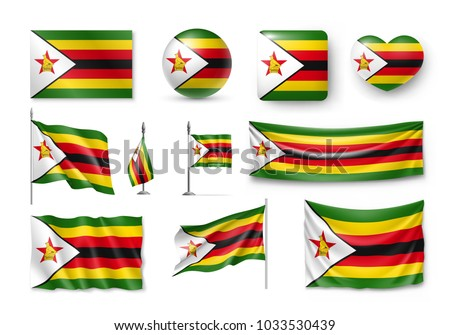 Vector set of the national flag of Zimbabwe in various creative designs Stock photo © butenkow
