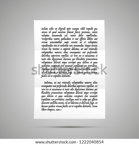 Handwrite letter on latin with no sense, A4 size document icon with shadow on gray Stock photo © evgeny89